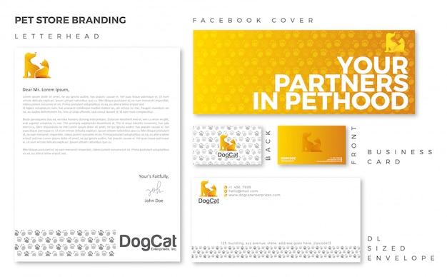 Pet store branding template Premium Vector