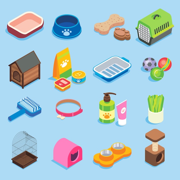Pet store flat isometric icon set Premium Vector