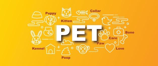 Pet vector trendy banner Premium Vector