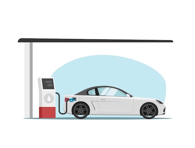 Бензоколонка с автомобильной заправкой автомобиля плоский мультфильм иллюстрации Premium векторы