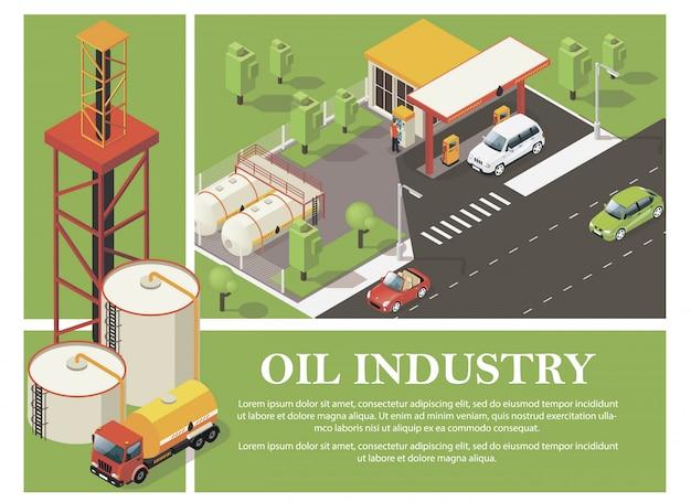 Composizione variopinta nell'industria petrolifera con le cisterne della stazione di servizio del camion dell'olio e della torre nello stile isometrico Vettore gratuito