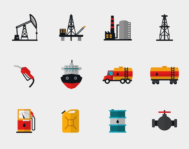 Petrol production, oil refining and petroleum transportation flat set. pump and transportation, plant and transport, refueling and barrel Free Vector