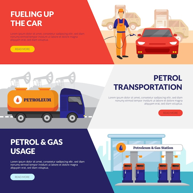 Petrol station horizontal banners set with gas usage symbols Free Vector