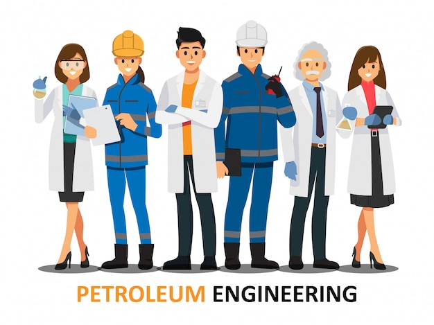 Petroleum engineering teamwork ,vector illustration cartoon character. Premium Vector