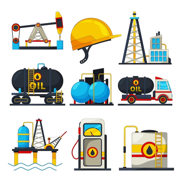 Petroleum and gas icons.  s isolate on white Premium Vector