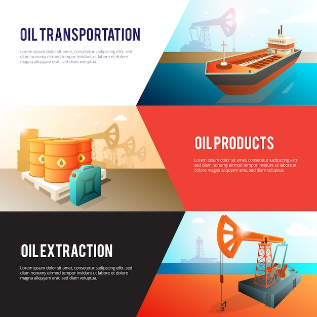 Petroleum industry banners set with oil extraction refining storage and transportation Free Vector