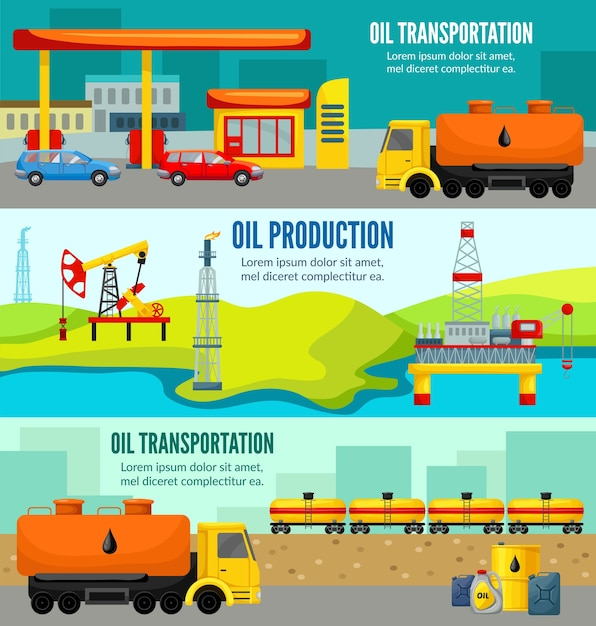 Bandiere orizzontali variopinte di industria petrolifera Vettore gratuito