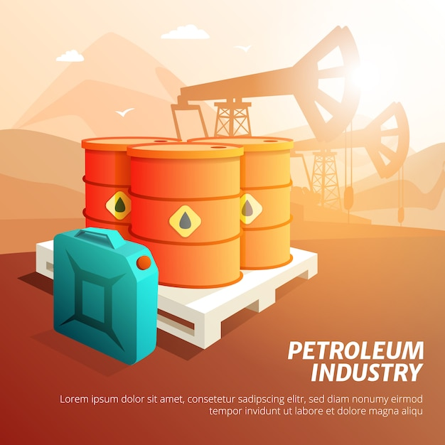 Petroleum industry facilities composition isometric poster with oil storage tanks canisters Free Vector