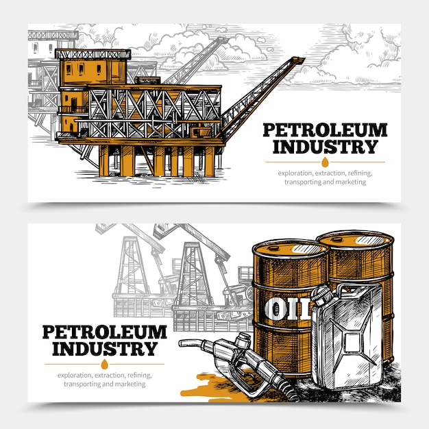 Petroleum industry horizontal banners Free Vector