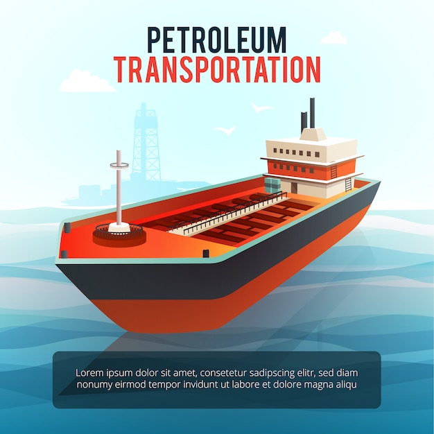 Petroleum industry products transporting tanker with oil deep water drilling platform Free Vector