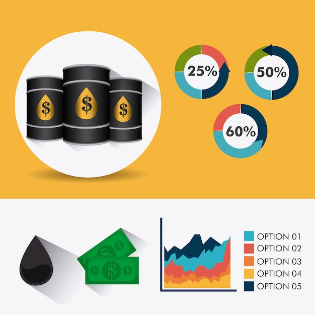 Petroleum and oil industry infographic design Free Vector