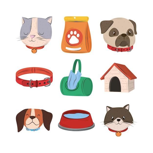 ペット、猫の犬の首輪ウォーターハウス食品とバッグアイコンセットフラットスタイルイラスト Premiumベクター