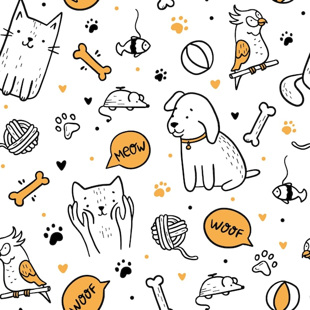 Pets cats and dogs seamless pattern in doodle style Premium Vector