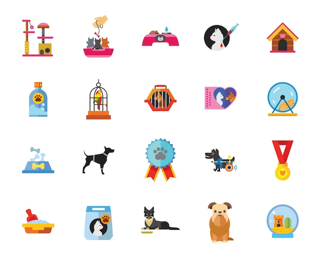 Pets icon set Free Vector