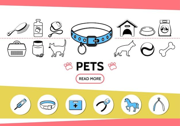 Icone di linea di animali domestici impostate con cane gatto pettine alimentazione guinzaglio trasportatore cuccia pillole osso cavallo tagliaunghie mediche Vettore gratuito