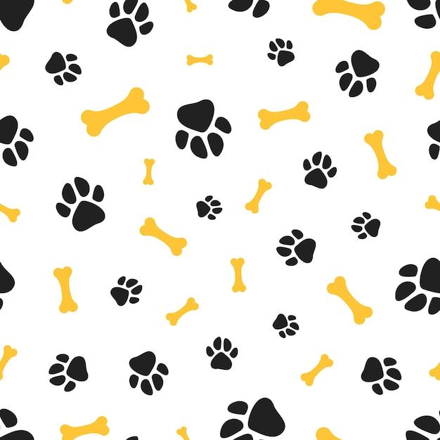 Шаблон лапы домашних животных. кости и следы животных бесшовных текстур. Premium векторы