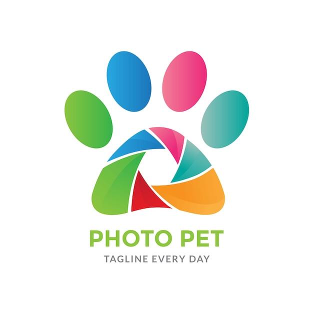 Pets photography logo Premium Vector