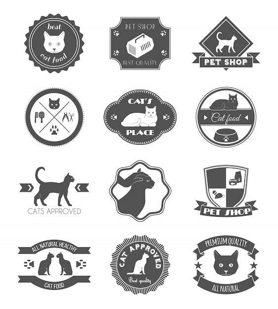 Pets place healthy food black symbols labels collection for premium quality products poster Free Vector