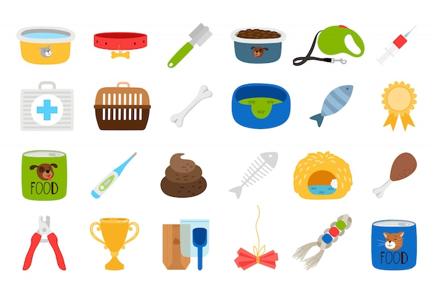 Pets related icons set Premium Vector