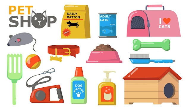 Pets supplies wet. food and accessories for cats and dogs care, bowl, collar, brush, toys, leash, shampoo, can, kennel. vector illustration for pet shop, domestic animals Free Vector