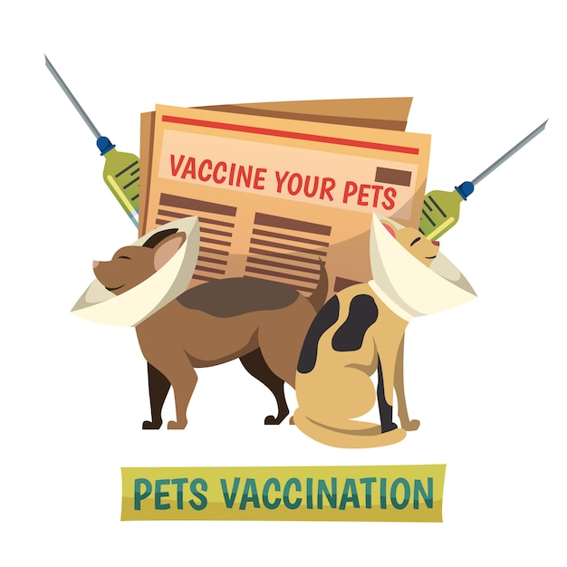 Pets vaccination orthogonal background composition Free Vector