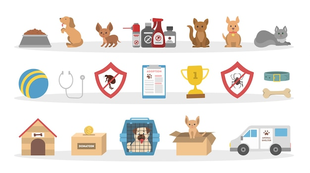 Pets vet icons set. dogs and cats, toys and medication. Premium Vector