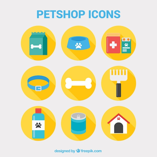 petshop icons vector free download