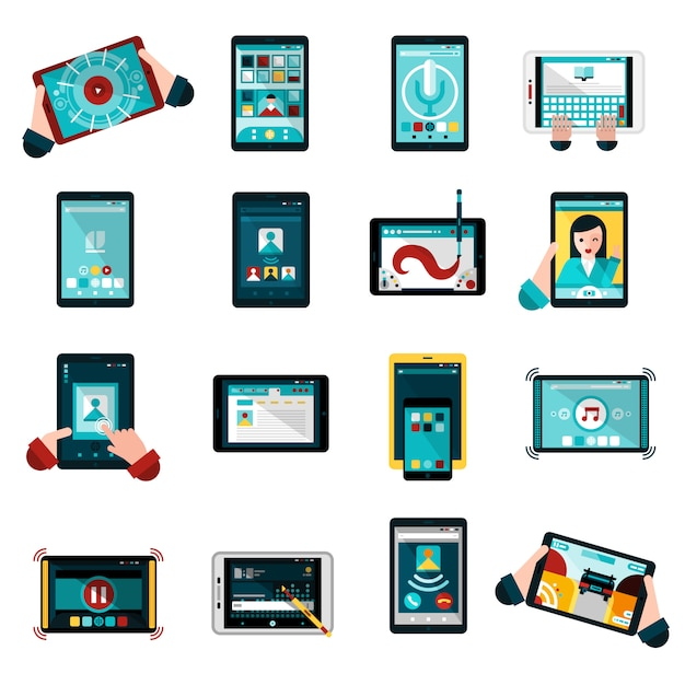 Phablet icons set Free Vector