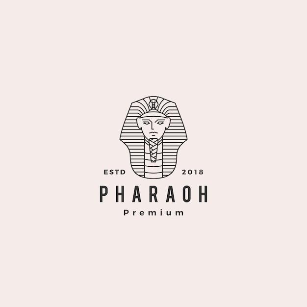 Pharaoh logo vector hipster retro vintage label illustration Premium Vector