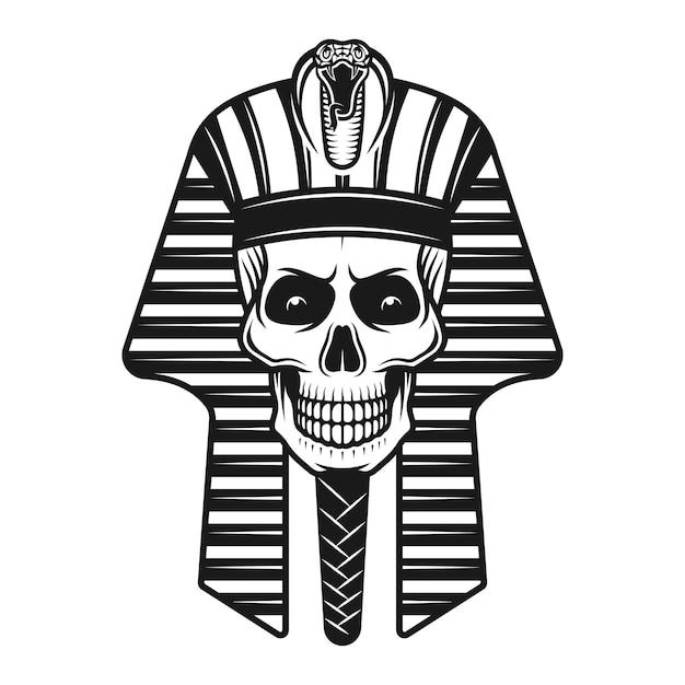 Pharaoh skull, egyptian ancient illustration in vintage style Premium Vector