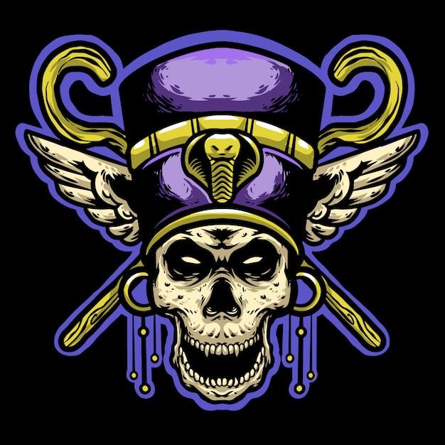 Pharaoh skull helmet and gold stick head mascot logo Premium Vector
