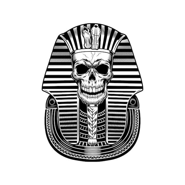 Pharaoh skull vector illustration. egyptian mummy, skeleton, death symbol. ancient egypt history and mythology concept Free Vector