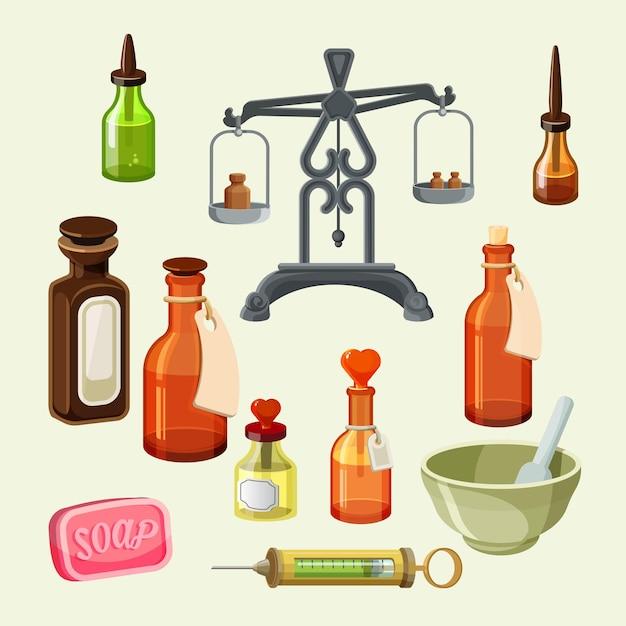 Набор фармацевтических аптекарских элементов. реалистичные флаконы для эфирных масел и косметических средств, шприцы, весы для дозирования лекарств. винтажные банки, бутылочки-капельницы, мыло и сосуды. Premium векторы