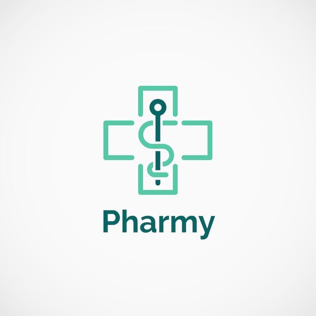 Pharmaceutical cross caduceus logo Premium Vector