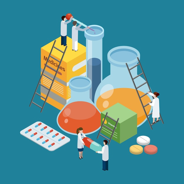 Pharmaceutical production composition isometric composition Free Vector