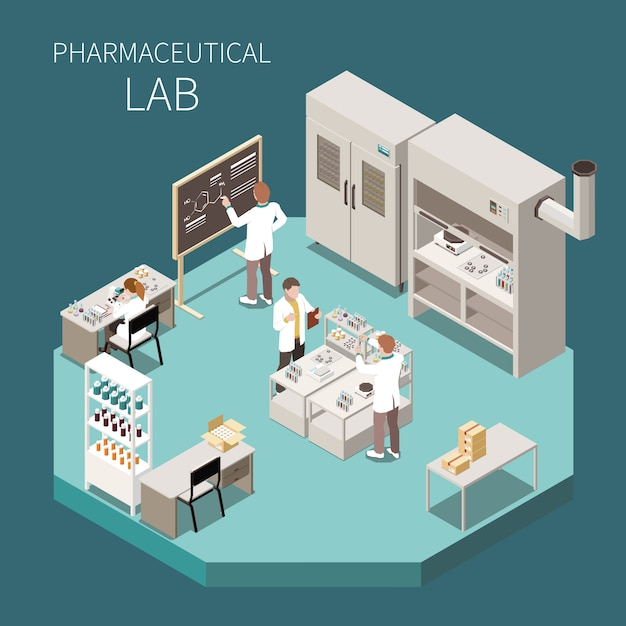 Pharmaceutical production isometric composition with pharmaceutical lab headline and three scientist in the lab  illustration Free Vector