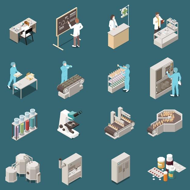 Изометрические значок фармацевтического производства с ученым на работе и иллюстрации производства наркотиков Бесплатные векторы