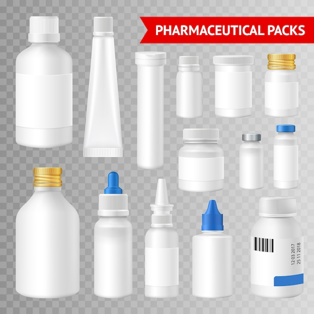 Pharmaceutical quality packaging solutions realistic images collection Free Vector