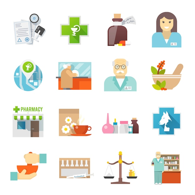 Pharmacicst flat icons set Free Vector