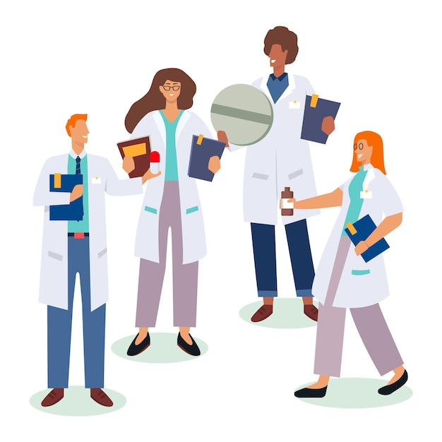 Free Vector | Pharmacist collection concept