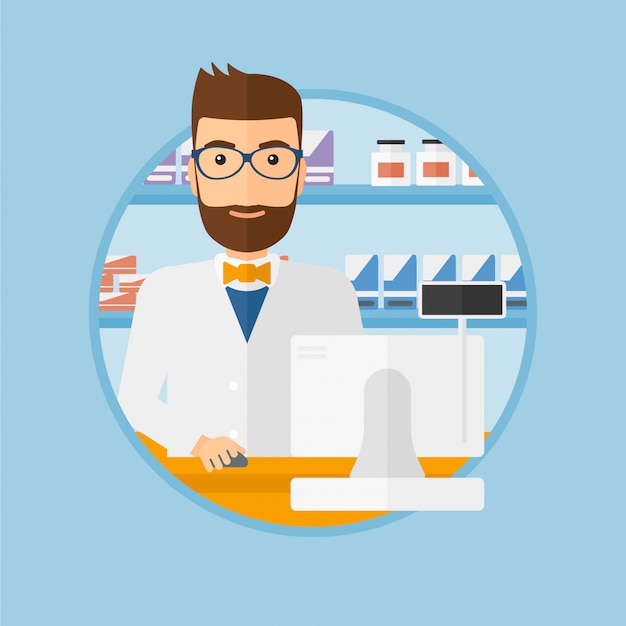 Pharmacist at counter with cash box. Premium Vector