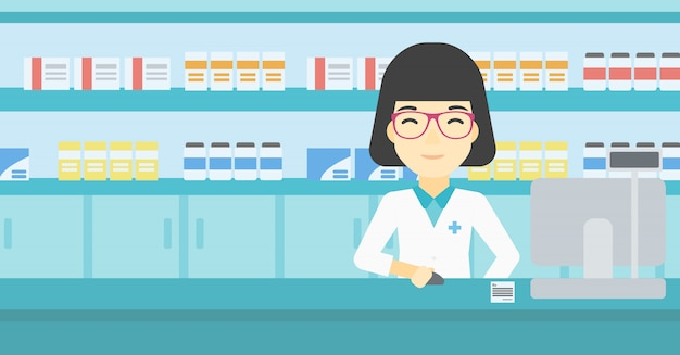 Pharmacist at counter with computer monitor. Premium Vector