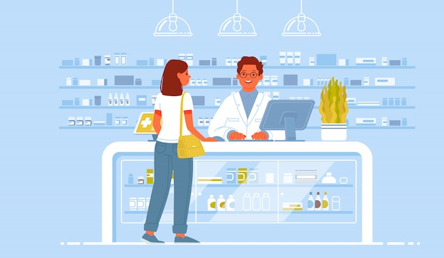 Pharmacist doctor and patient in the drugstore. a client woman buys drugs at a pharmacy Premium Vector