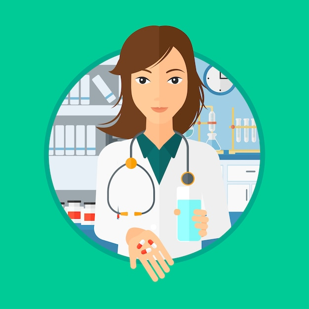 Pharmacist giving pills and glass of water. Premium Vector