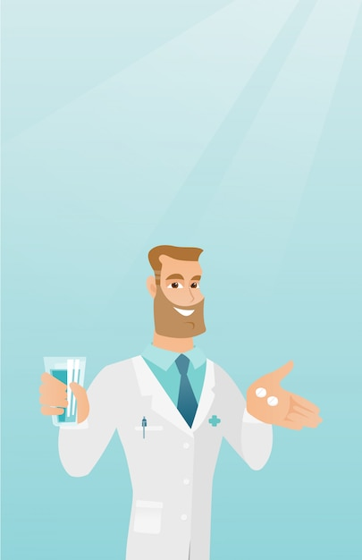 Pharmacist giving pills and a glass of water. Premium Vector