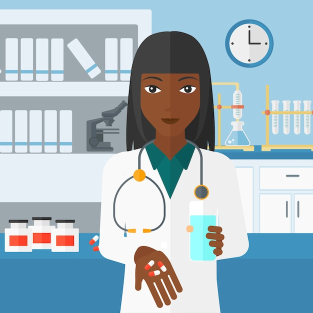 Pharmacist giving pills. Premium Vector