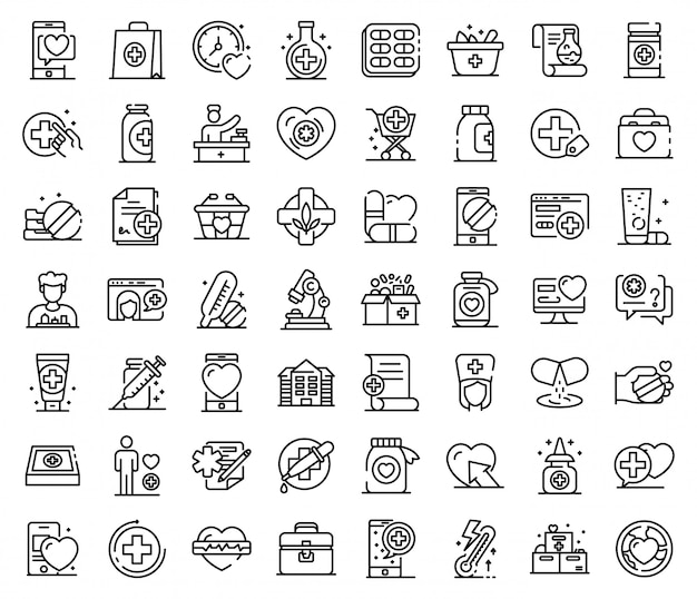 Pharmacist icons set, outline style Premium Vector