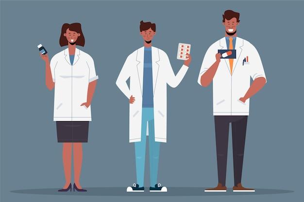 Фармацевт люди с таблетками в руках Бесплатные векторы