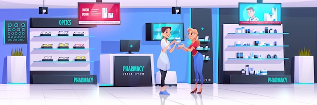 Pharmacist serveing client in pharmacy with optics Free Vector