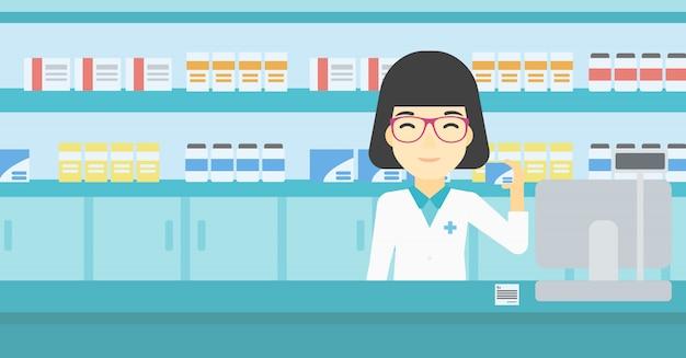 Pharmacist showing some medicine. Premium Vector